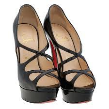 inseller women sandals christian louboutin black patent leather