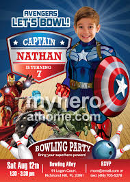 bowling party captain america birthday invitation bowling