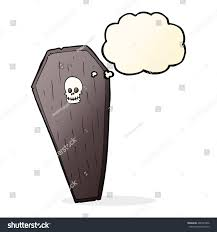 spooky cartoon coffin thought bubble stock illustration 468747806