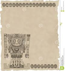 Aztec Mayan Inca Map Vector Mayan And Inca Tribal Symbols On Old Paper Stock