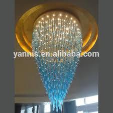 blue crystal chandelier light 2017 new design gu10 big banquet hall project blue glass raindrop