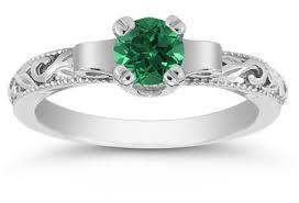 art deco emerald engagement ring 14k white gold
