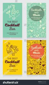 Cocktail Invitation Cards Set Business Cards Cocktail Bar Can Stock Vector 352320230