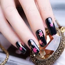 1sheet pretty red star shape shiny black nail art sticker no