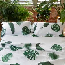 top bed sheets tropical leaves white linen top sheet pure linen luxury bed