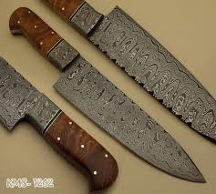 Handcrafted Kitchen Knives by Beautiful Hand Made Damascus Steel Hunting Kitchen Chef Knife
