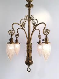 Art Nouveau Chandelier Genuine Antique Lighting 4 Light Art Nouveau Chandelier With