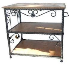 wrought iron kitchen island longaberger wrought iron bakers rack w butcher block top mint