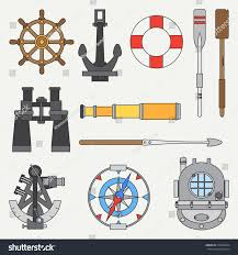 line color marine icons set nautical stock vector 518236534