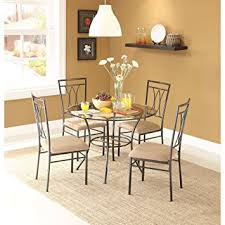 Microfiber Dining Room Chairs Amazon Com Elegant 5 Piece Glass And Metal Dining Set With 1