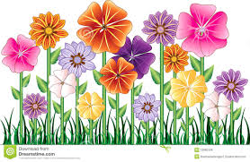 A Garden Of Flowers by Vector Illustration Of A Flower Garden With Grass Description