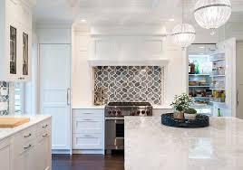 Blue Backsplash Tile by White Kitchen With Blue Gray Backsplash Tile Home Bunch