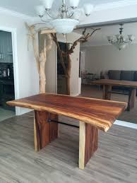 custom live edge suar wood dining table features industrial