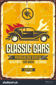 vintage cars vintage cars old worn sign classic stock vector 698637055