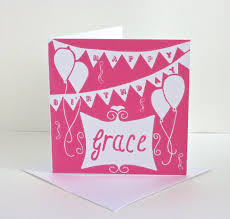 happy birthday card customised lino print card
