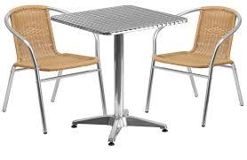 SQUARE ALUMINUM INDOOROUTDOOR TABLE WITH  BEIGE RATTAN CHAIRS - Indoor outdoor sofas 2