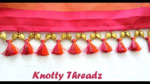 how to make double colored saree kuchu tassels using silk thread