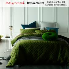 mossy road cotton velvet diamond quilted quilt cover set or
