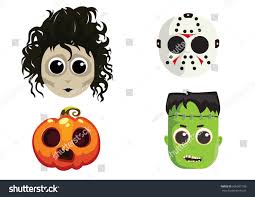 abstract cute halloween mask on a white background royalty free