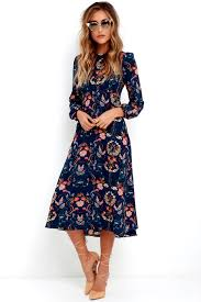 print dress boho midi dress navy blue dress floral print dress