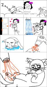 Cartoon Cat Memes - giving my cat a bath memedroid