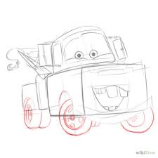 draw mater from cars wheels body drawing and sketches