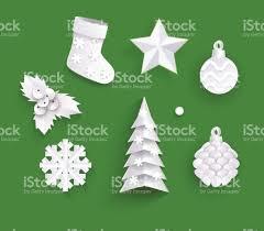 paper christmas decorations white paper cut set of christmas decorations stock vector