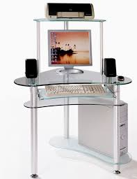 Glass Top Computer Desks For Home Small Glass Computer Desk Freedom To