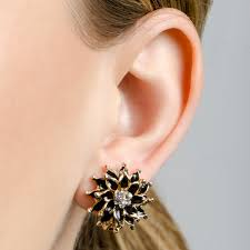 s clip on earrings goldtone and black cz flower clip on earrings
