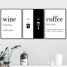 black and white prints for kitchen wine coffee quote wall picture for living room black white kitchen poster canvas painting modern wall prints hd2804