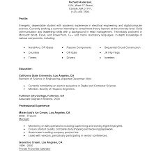 exle resume for college internship resume template sle college application objective foresumes