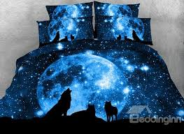 wolf bed set 3d wolf and galaxy printed cotton 4 piece blue bedding sets duvet