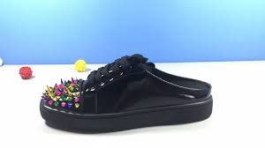 christian louboutin black leather color spike slippers christian