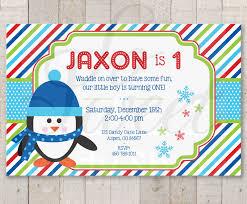 Winter Onederland Party Decorations Penguin 1st Birthday Invitations Boy Penguin Birthday Party