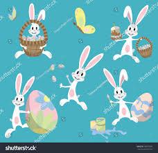 Easter Egg Decorating Bunny by Happy Easter Cute Easter Bunny Sitting Stock Vector 368370203