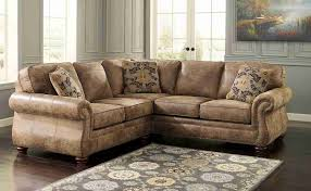 furniture rustic leather sectional sofa with pattern rug and gray