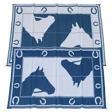 Rv Awning Mats 8 X 20 by Fireside Patio Mats Blue Horseshoe Blue And White 6 Ft X 9 Ft