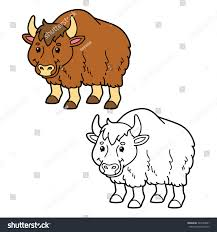 funny yak vector illustration coloring page stock vector 329764061