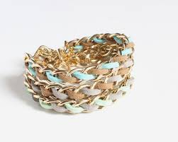 gold chain bracelet with leather images Pastel color faux suede gold chain bracelet 3 colors available jpg