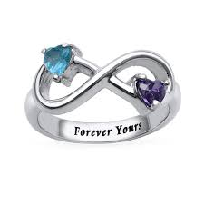 rings with birthstones engraved infinity ring with heart shaped birthstones mynamenecklace