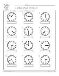 ideas collection telling time to the 5 minutes worksheets in
