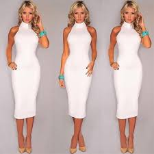 summer fashion turtleneck sleeveless casual elegant pencil dress