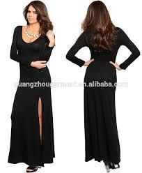 evening maxi dresses women stretch sleeve high slit boho soft evening