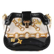 Monogram Charms Louis Vuitton Alligator Monogram Charms Linda Scarf Bag Black 114886