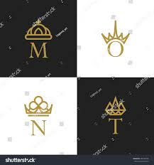 letters crowns ornamental golden logos vector stock vector