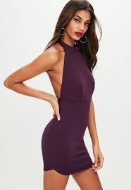 backless dress purple halterneck backless dress missguided