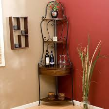 Bakers Wine Rack Furniture Traditional Black Iron Corner Bakers Rack For Your