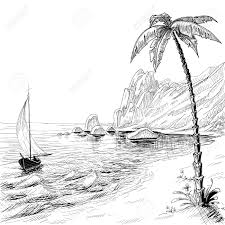 sea beach boat and palm tree vector sketch royalty free cliparts