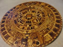 vintage aztec calendar marquetry wood inlay wall hanging table top