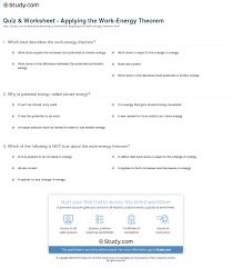 work energy theorem worksheet worksheets